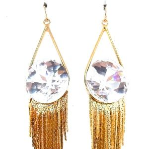 THUNDERBIRD MOONDUST ROUND GOLD FRINGE EARRINGS NW